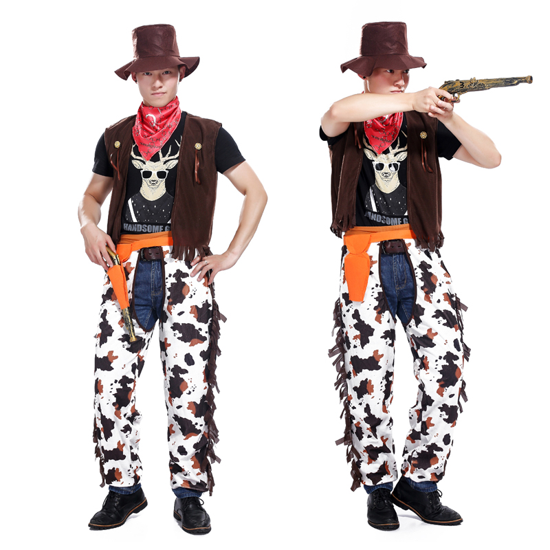 Halloween masquerade costume cosplay adult cowboy stage costumes parents installed