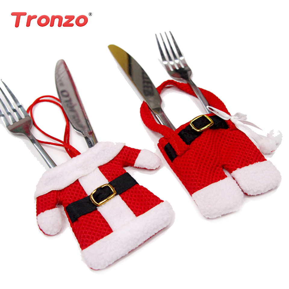 Tronzo Christmas Decorations For Home Silverware Holder 6PCS Santa Claus Hanging Ornaments Holder Navidad 2018 Xmas Decor Table