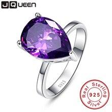 Элегантный водослива аметист жемчуг вырезать стерлингового серебра 925 обещание обручальное кольцо 8.8 карат любовь Обручальные кольца для Для женщин