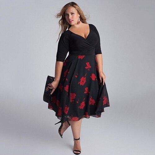 4bec761aa18 Сексуальные Женщины Леди Плюс Размер V образным Вырезом Лоскутное Строки  Платье с Цветочным Принтом 09WG купить на