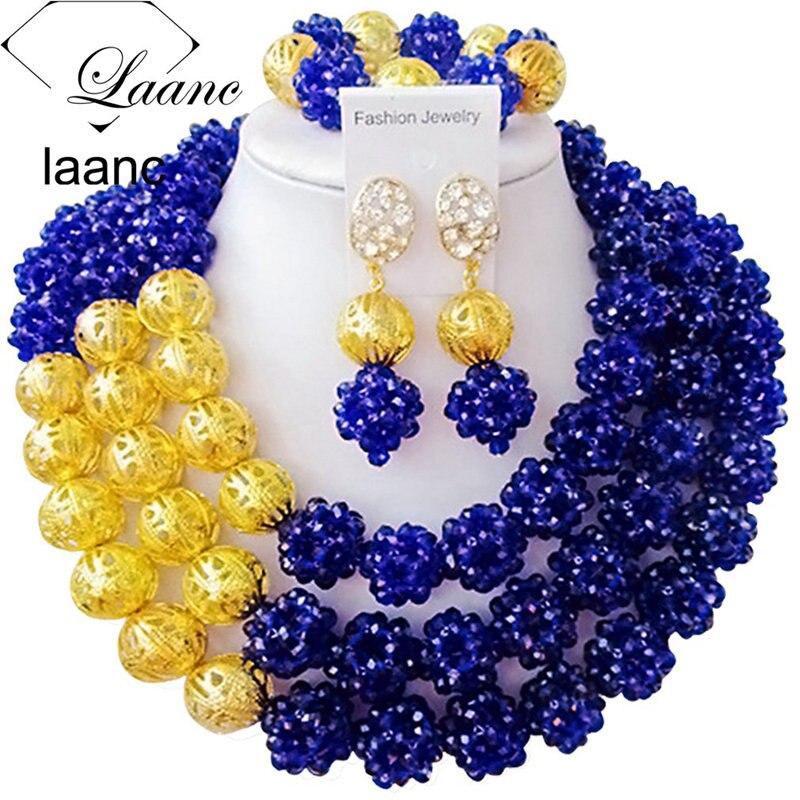 Laanc boule de cristal bleu Royal ensemble de bijoux de mariage africain pour femmes nigérian perles bijoux fantaisie AL422