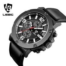 LIEBIG  Men'S Fashion Business Watches Water Resistant 50M Sport Quartz Watch Leather Strap males Watch Wristwatches