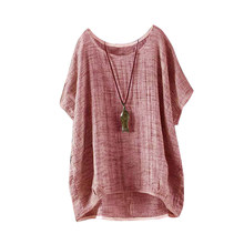 Plus Size Women Ladies Vintage Batwing Linen Short Sleeve Summer TShirt Casual Oversized Loose Top Harajuku Solid Color T-Shirt(China)
