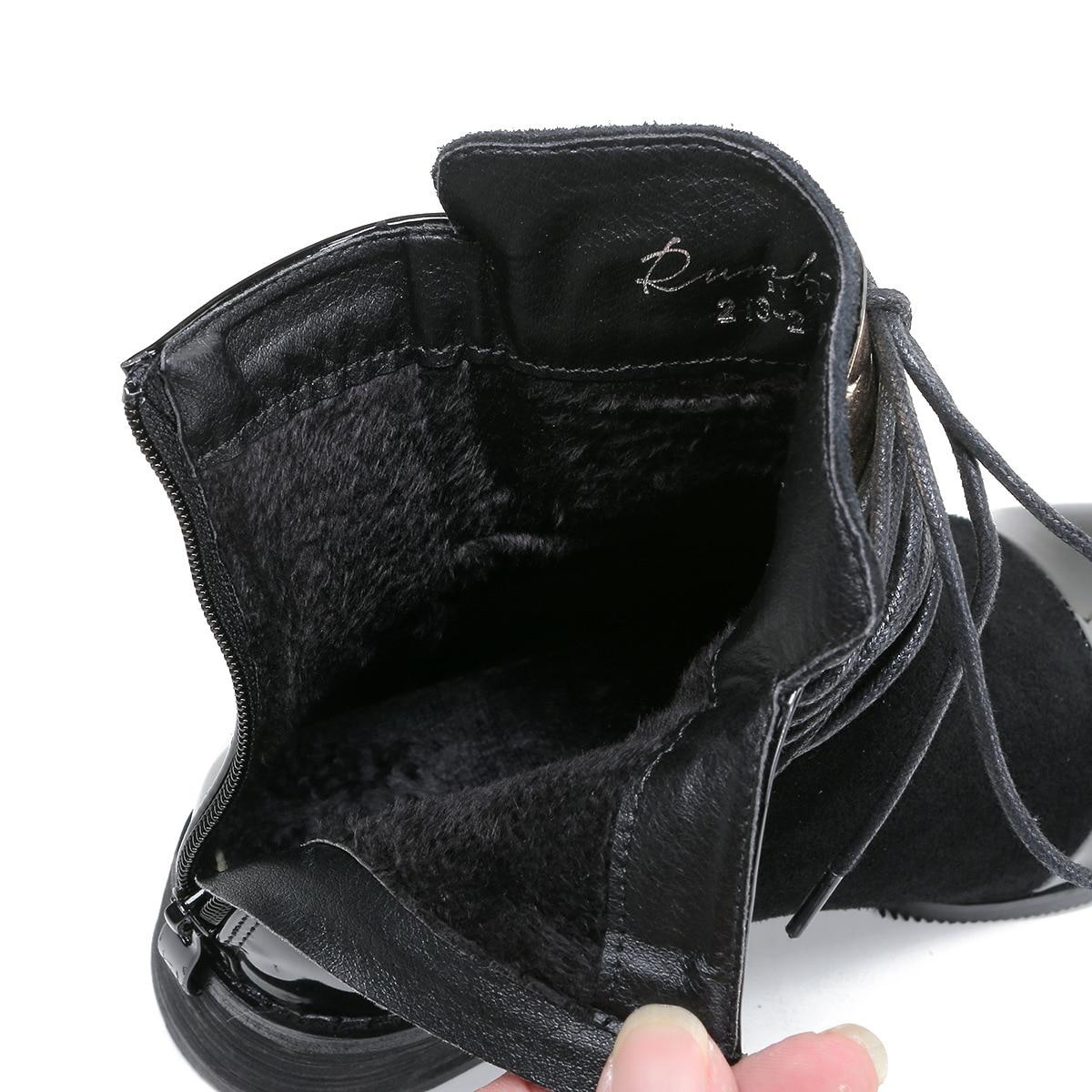Martin Botas Moto Point wine Xingdeng Del De Red Nubuck Señoras Black Zapatos Partido Mujeres Inglaterra Tobillo Lace Charol Las Up Toe Hw8pyqB80