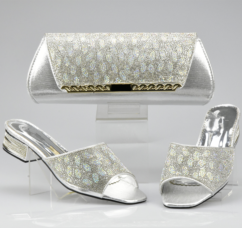 Bag-Set Nigerian Shoes Matching-Bags Sliver-Color Party African Women High-Quality