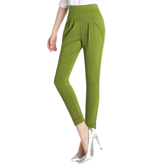 New Fashion Women's Brand Harem Pants Capris,Candy Colors High Waist Plus Size S-4XL Female Stretch Trousers Casual Pencil Pants