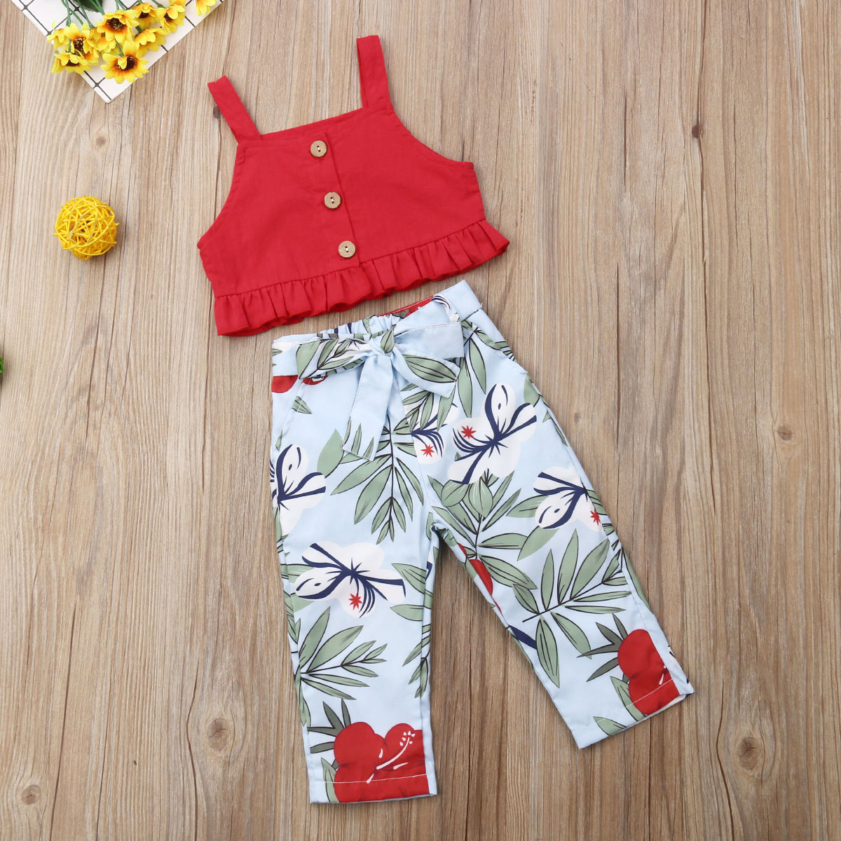 2019 Summer Toddler Baby Girl Clothes Sleeveless Ruffles Crop Top Floral Pants Outfits Casual Kid Baby Girl Clothing Set new in Clothing Sets from Mother Kids