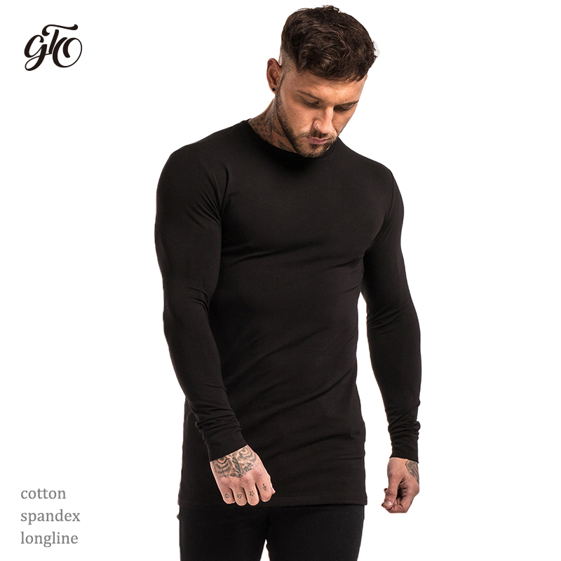 c7202c249f2d7 Gingtto Mens Long Sleeve Shirts Longline Stretch Tees Lightweight Cotton  Spandex Soft Full Sleeve T shirts Plain Black zm200-in T-Shirts from Men's  Clothing ...