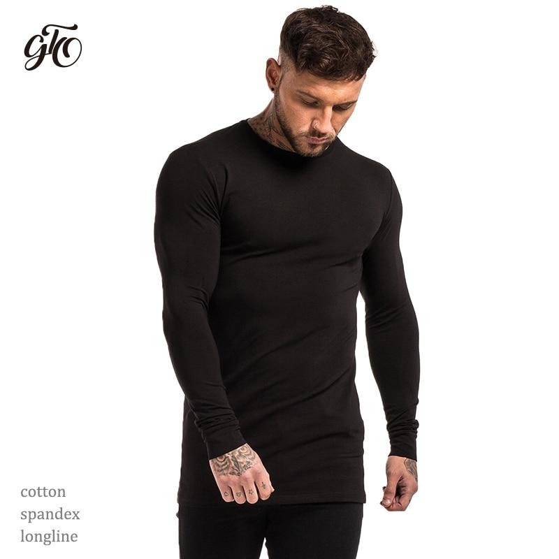 7b2b6d79 Gingtto Mens Long Sleeve Shirts Longline Stretch Tees Lightweight Cotton  Spandex Soft Full Sleeve T shirts Plain Black zm200-in T-Shirts from Men's  Clothing ...