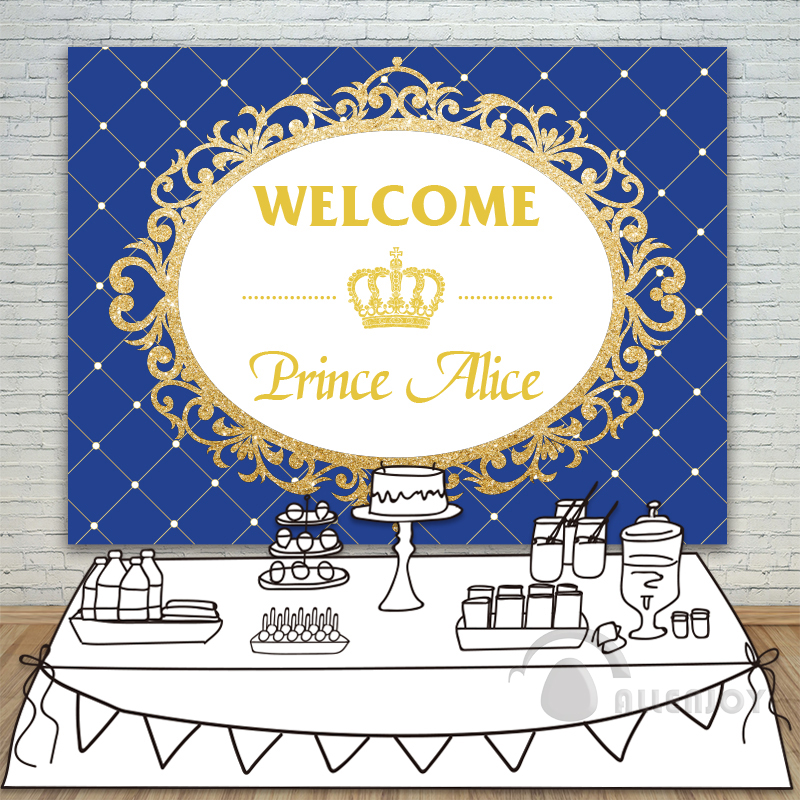 Prince Party Backdrop Baby Shower Gold Glitter Birthday Crown Invitation celebration Party Table Dessert Background Allenjoy crown headband cute lace flower hair band photo props 1st birthday headband princess glitter crown birthday crown