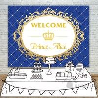 Prince Party Backdrop Baby Shower Gold Glitter Birthday Crown Invitation celebration Party Table Dessert Background Allenjoy