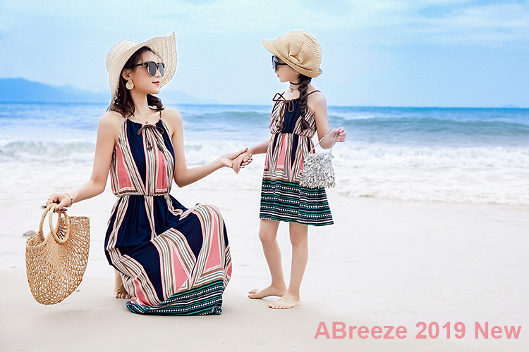 Children Girls Dresses 3-12Y Retro Style Slip Dresses Stripe Maxi Dresses