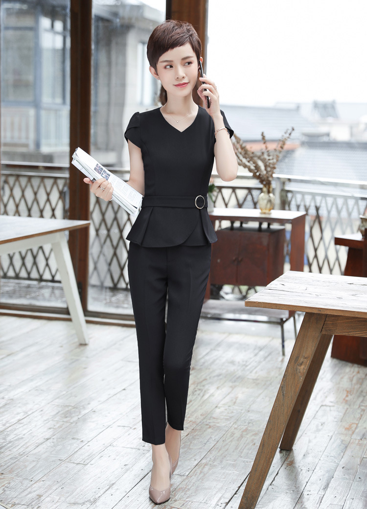 Women Blue/Black Pant Suits Short Sleeve Blazer Office Business Suits Formal Work Wear Sets Uniform Pantsuit B293 ...