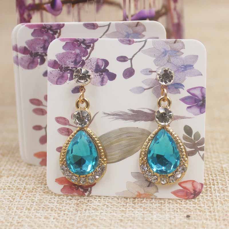 5*5cm Marble Drop Earring Display Card Flower Design Earring Tag Card Dreamcatcher Jewelry Earring Packing Tag Card100/lot
