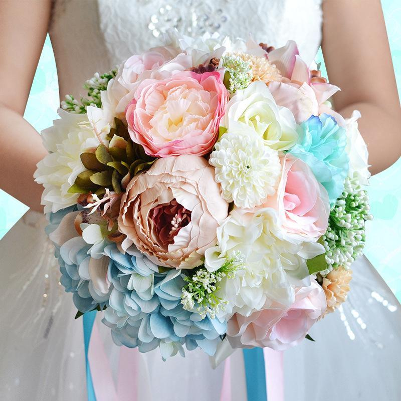 ᓂBride Bouquet Vintage Artificial Flower Wedding Bouquet Peony ...