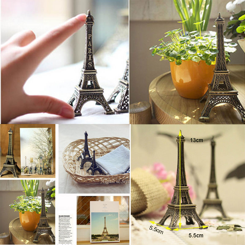 Bronze Tone Paris Eiffel Tower Decorations Figurine Statue Vintage Alloy Model Decor Home 15cm In Figurines Miniatures From Garden On