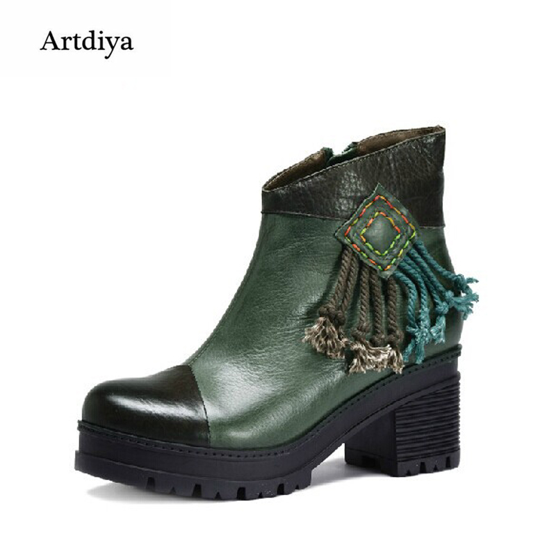 Artdiya 2018 Handmade Women Boots Green Soft High Heels Ankle Boots 100% Genuine Leather Vintage Boots X4DW303-6