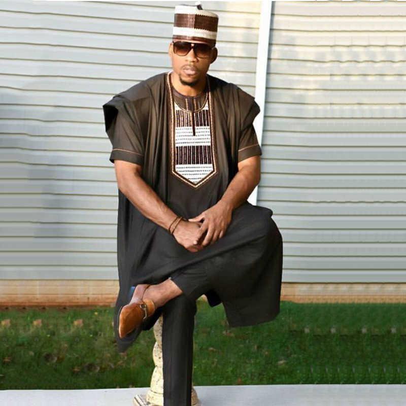 キャップなしアフリカドレス男性 3 枚セット男性 dashiki シャツアフリカ服バザン riche 男性服トップスパンツスーツ africain