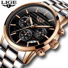 LIGE Mens Watches Top Brand Luxury Quartz Clock Male Stainless Steel Chronograph Military Sport WristWatch Men Relogio Masculino relogio masculino casual curren mens watches top brand luxury black stainless steel quartz watch men sport clock male wristwatch
