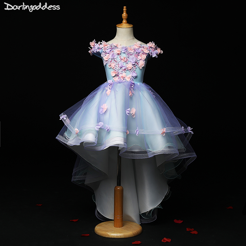 High Low Flower Girl Dresses For Weddings Kids Pageant Dress First Communion Dresses For Little Baby Party Prom Dress 2019