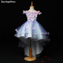 High Low Flower Girl Dresses for Weddings Kids Pageant Dress First Communion Dresses for Little Baby Party Prom Dress 2019 2018 brand luxury tulle flower girl dress kids wedding dress flower appliques bead kids party prom dress first communion dresses