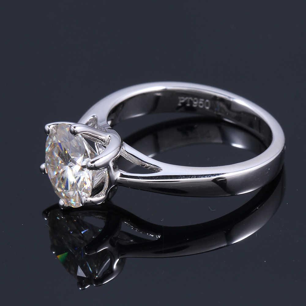 Transgems 2 กะรัตกะรัต 8 มม.แหวนหมั้น Moissanite แหวน Lab Grown แหวนเพชรสำหรับสตรีแท้ 925 เงินสำหรับผู้หญิง