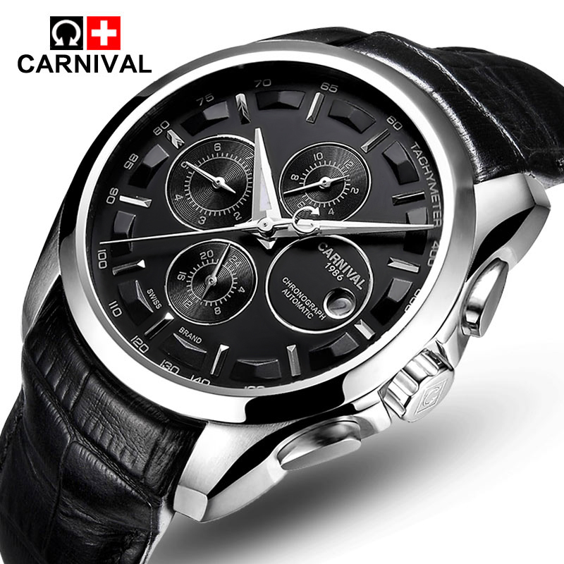 Carnival Mens Automatic mechanical Watches Men Top Brand Luxury Dive 30M Sport Business Leather Wrist watches Relogio masculino