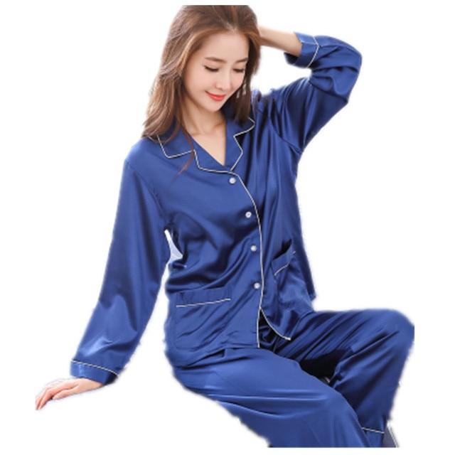 Long Sleeves Womens Silk Pajamas Sets Loungewear Spring Pyjamas Set Onesie  Nightwear Blue Pijama Hombre Verano 192a0e4ab