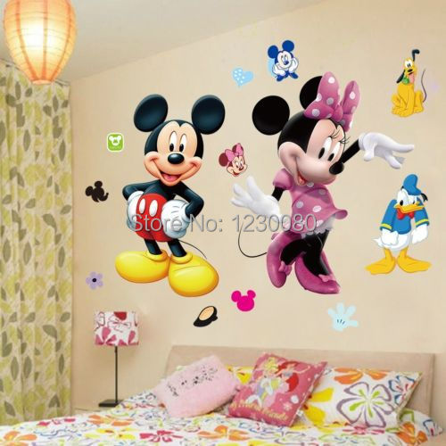 Buy mickey mouse minnie vinyl mural wall sticker decals kids - Stickers et decoration ...