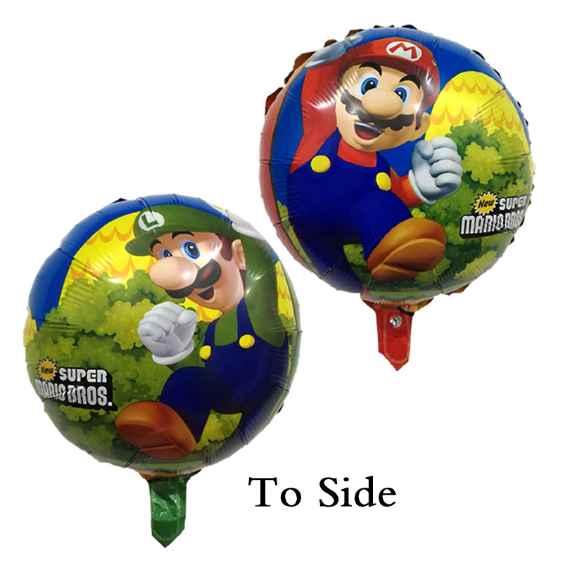 Festive & Party Supplies 50 Pcs/lot 18 Inch Super Mario Balloons Round Ball Birthday Party Mario Bros Mylar Balloon Two Side Green Red Color Kid Toys