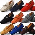 EUA 6-12 Realmente De Couro Seude Mens Comfort Borla Loafer Deslizamento Em Homens Mocassim de Couro Sapatos de Condução de Automóveis