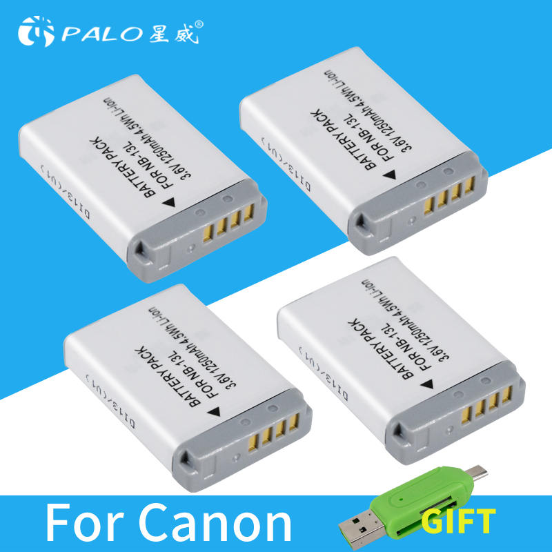 PALO 4pcs NB-13L Rechargeable Battery for Canon G7X G9X G5X G7X Mark II G9X Mark II SX620HS SX720HS SX730HS Camera цена