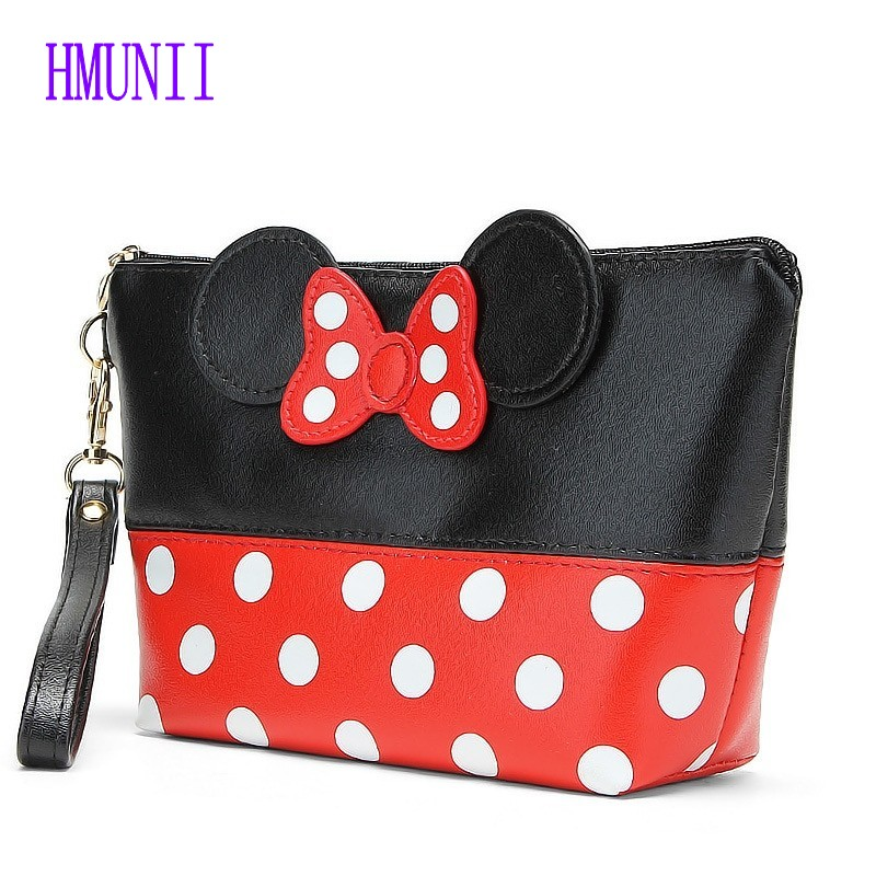 New Fashion Dot Bow Portable Mouse Bag PU Travel Organizer Cosmetic Bag Travel Trace Excellent Quality Wash Toiletry Bag