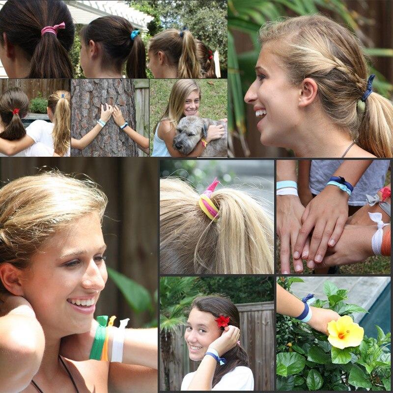 DHL free Emi Jay Like candy color Elastic Ponytail Holder Hair Bands ribbon  bracelets hair accessories Yoga Hair Ties 00bd38b4533