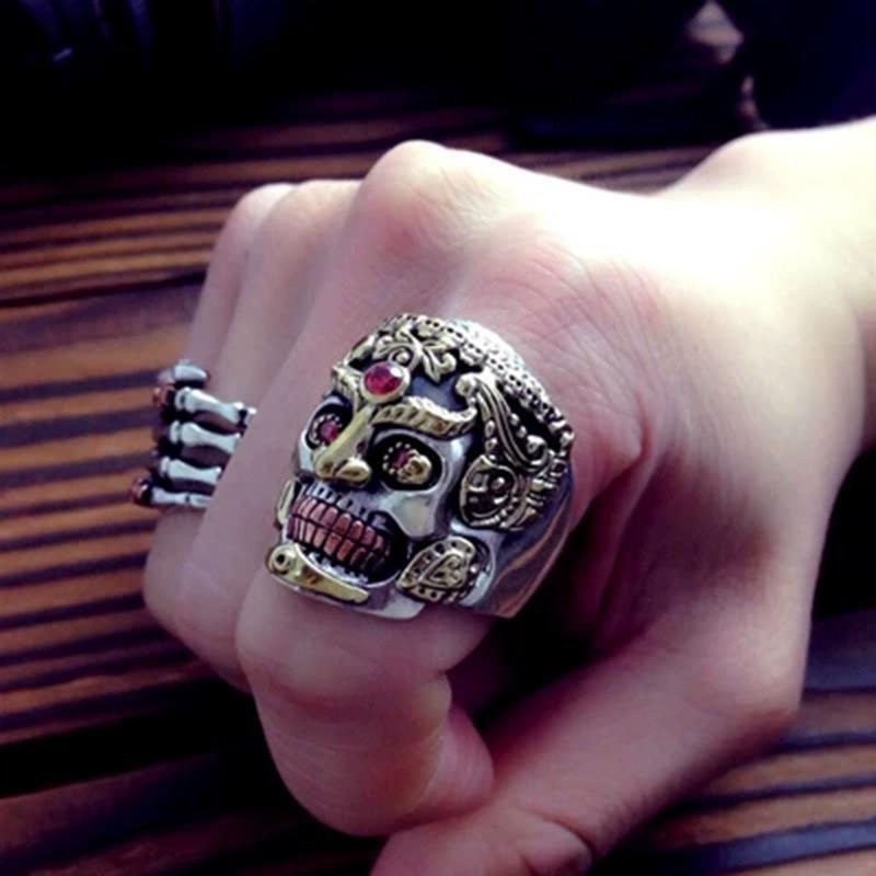 Punk Rock Prepotente Cranio Anelli Set In Corindone Rosso Solido Anello In Argento 925 per Gli Uomini Epoca Tailandese Gioielli In Argento - 2