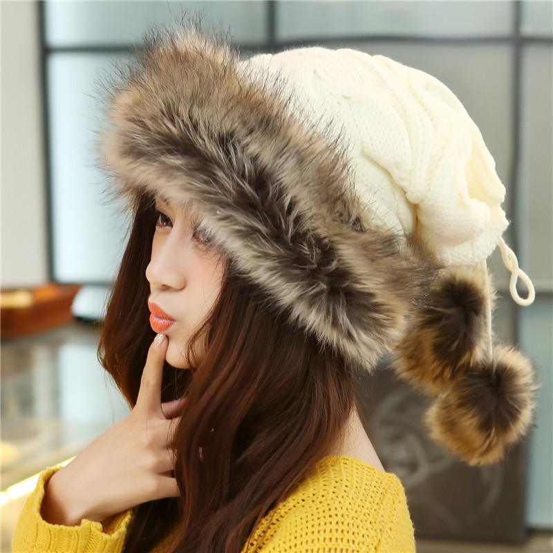 Winter Hat Women Scarves Beanies Fur Cap Warm Plus Hats For Women Baggy Knit Caps Fur Bonnet Ladies Winter Beanie Wool Hat 2017