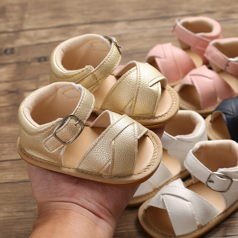 Newborn Infant Baby Girls Sandals Prewalker Non-slip PU Leather Shoes BUCKLE Cute Fashion Summer Toddler Baby Shoes