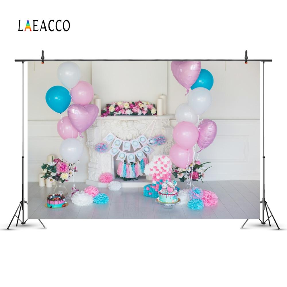 Laeacco růžové balónky Baby narozeninové krbové dorty květiny - Videokamery a fotoaparáty - Fotografie 4