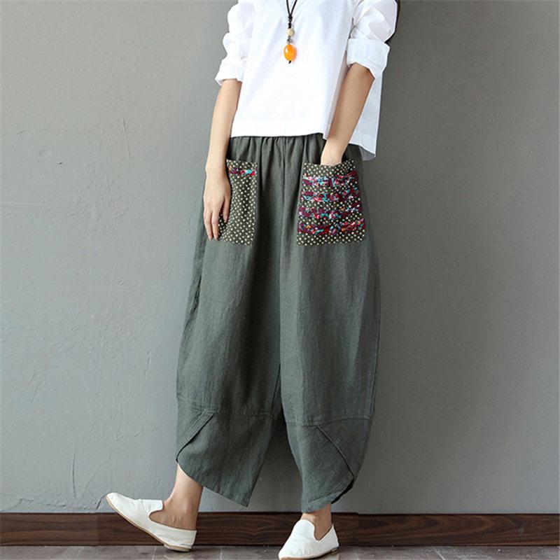 Sarouel Pantalon Femme Harem Pants Boho Vintage Cotton Linen Wide Leg Pants 2019 Women Hippie Trousers Big Size 2XL
