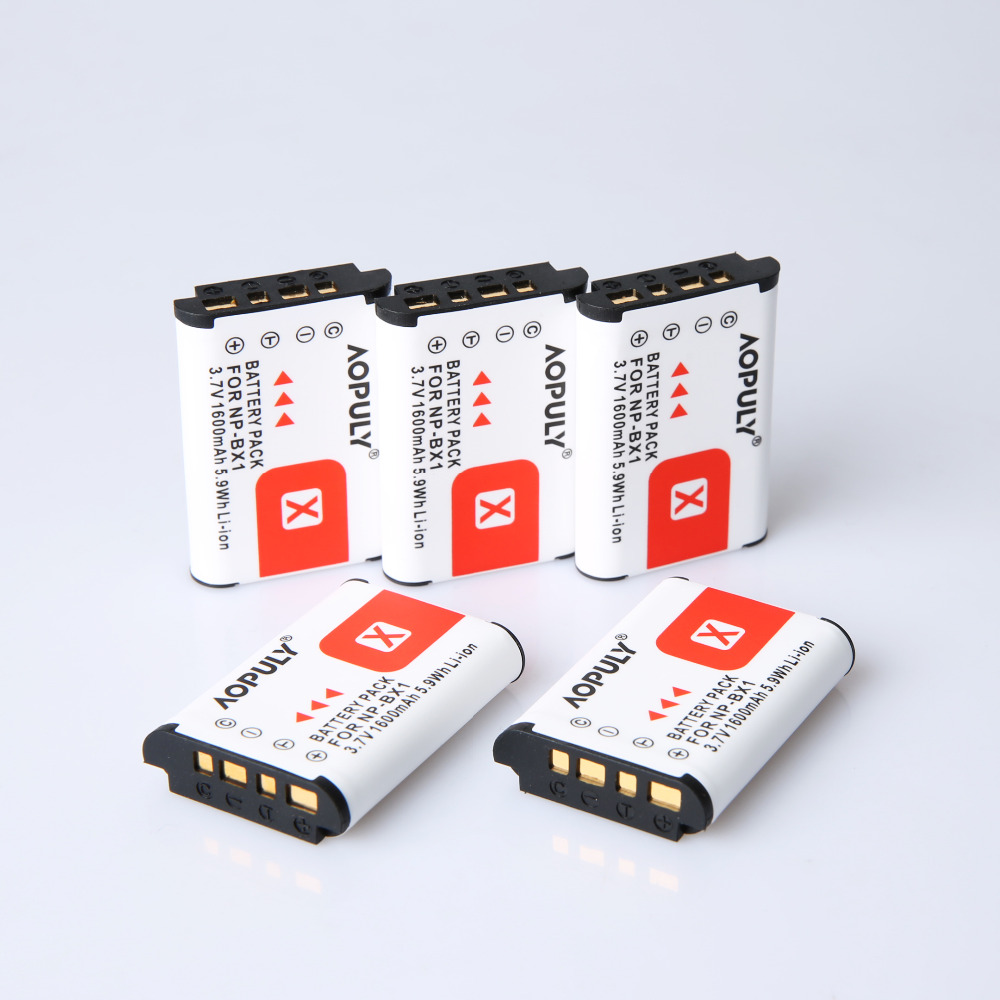 5*1600mAh NP-BX1 BX1 Camera Batteries pack For SONY DSC RX1 RX100 RX100iii M3 M2 RX1R WX300 HX300 HX400 HX50 HX60 GWP88 PJ240E