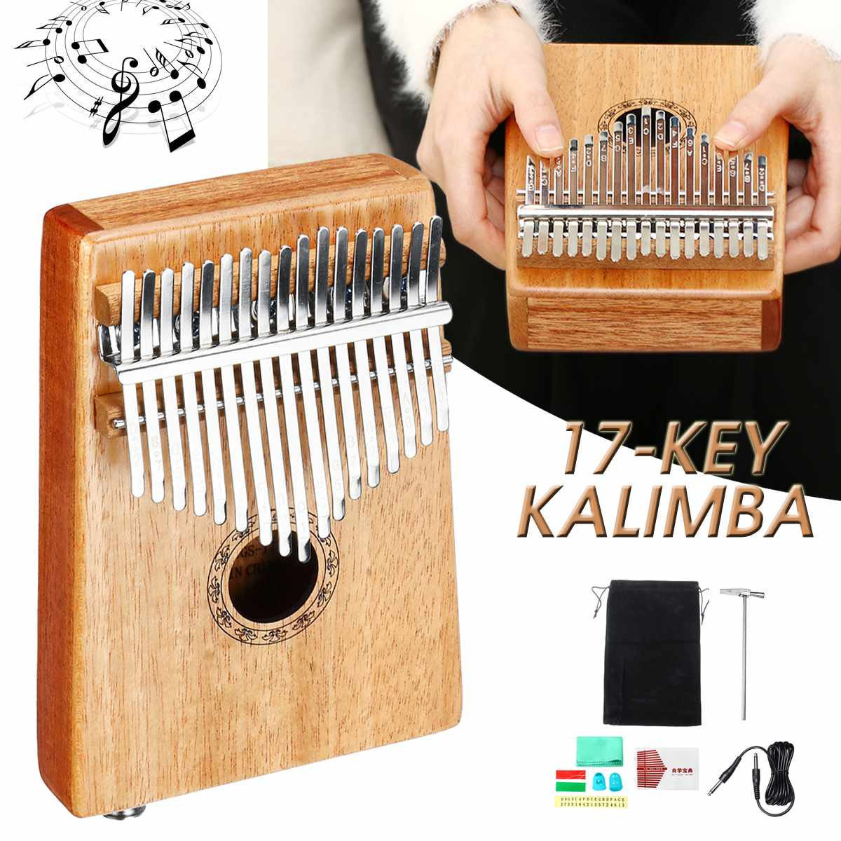 17 Key EQ Kalimba Thumb Piano w/Tuner Hammer African Traditional Electric Pickup Keyboard Body Musical Instrument Portable w/Bag