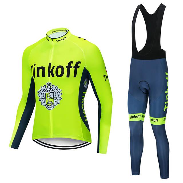 033a293d4 placeholder 2018 tinkoff Ciclismo Roupas de mangas Compridas Outono Mem  camisa de Ciclismo Calças Jardineiras bicicleta MTB
