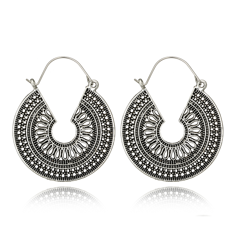 HuaTang Vintage Antique Silver Color Dangle Earring Geometric Ethnic Style Flower Carving Drop Earring for Women Girl Jewelry