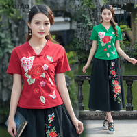 KYQIAO Vintage 70s ethnic v neck short sleeve green red black white embroidery frog t shirt 2017 traditional Chinese t-shirt