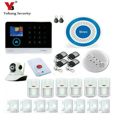 YobangSecurity WiFi 3G GSM Alarm System English Spanish Russian Smart Home WIFI Burglar 3G Alarm IP Camera Smoke Fire Detector все цены