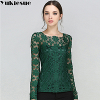 Lace Blouse Woman 2017 Summer Autumn Blusas Womens Tops And Blouses Solid Slim Sexy Vintage Blusas