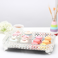16 Dessert plates silver with mirror and clear crystals Cake favor decoration Dessert plate Fruit tray Snack dish