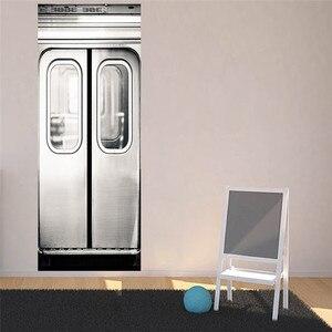 Image 5 - 3d 크리 에이 티브 픽션 실버 지하철 도어 스티커 침실 벽 스티커 아트 벽지 홈 인테리어 액세서리 대형 벽 스티커