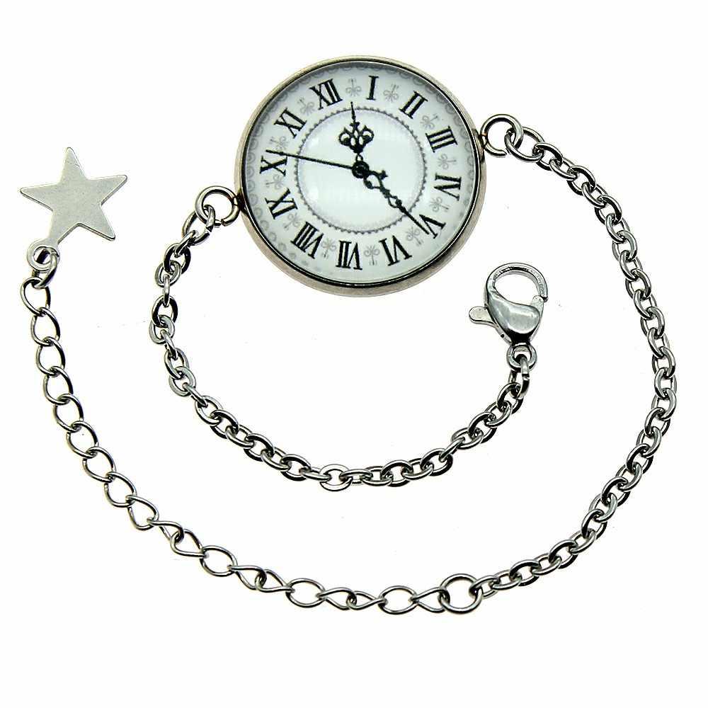 2019 חדש אופנה 20mm בציר רומי ספרות שעון זכוכית קרושון נירוסטה שרשרת צמידי תכשיטים לנשים