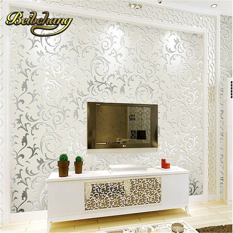 beibehang European non-woven wall paper TV backdrop wallpaper bedroom living room TV wall reliefs luxury minimalist video
